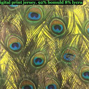 Jersey print med påfugle fjer