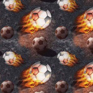Jersey print med fodbolde og ild