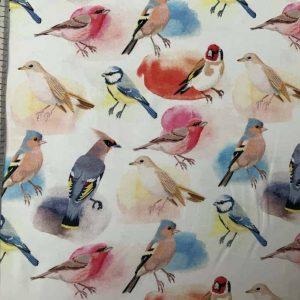 Jersey print med fugle (hvid)