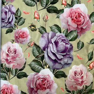 Floral jersey - khaki