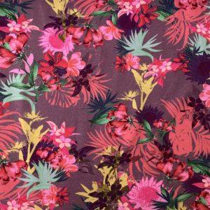 Jersey print med eksotiske blomster