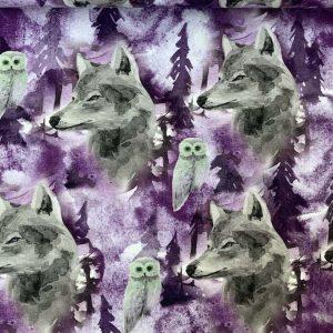 Jersey print med ulve og ugler