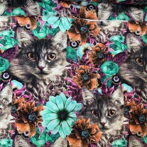 Jersey print med katte og blomster