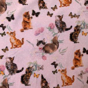 Jersey print med søde katte - lyserød