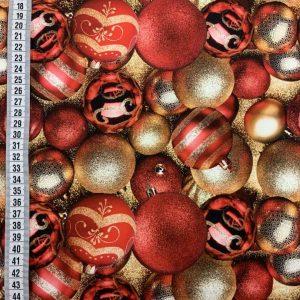 Jersey print med julekugler - rød/guld