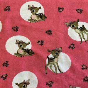 Jersey print med bambi - fuchsia