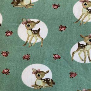 Jersey print med bambier - støvet grøn
