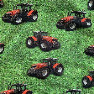 Jersey print med traktor på græs