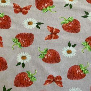 Jersey med jordbær og margueritter