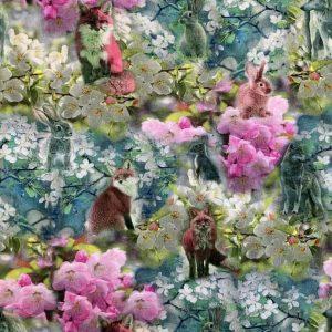 Jersey print med ræve og kaniner