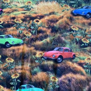 Jersey print med biler på engen