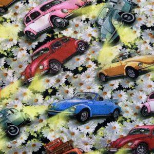 Jersey print med gamle biler og blomster
