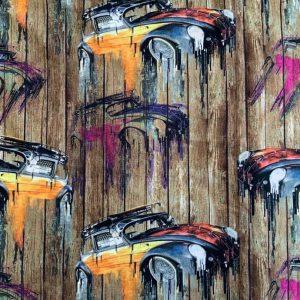 Jersey print med bil kunst
