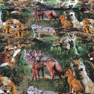 Jersey print med ulve og ræve
